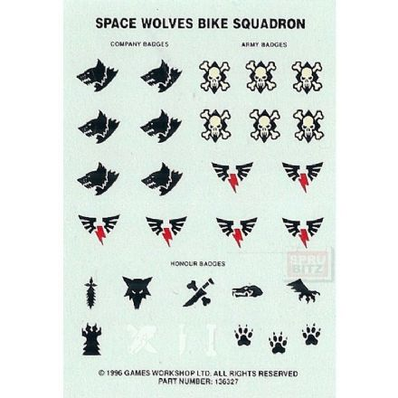 Space Wolves Bike Squadron Transfer Sheet Warhammer 40,000 Decals 136327 (1996)